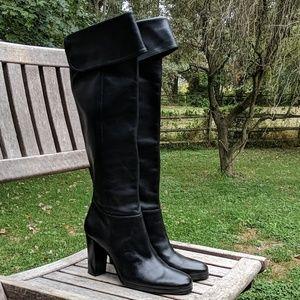 Jacqueline Ferrar Over The Knee Black Leather Boot